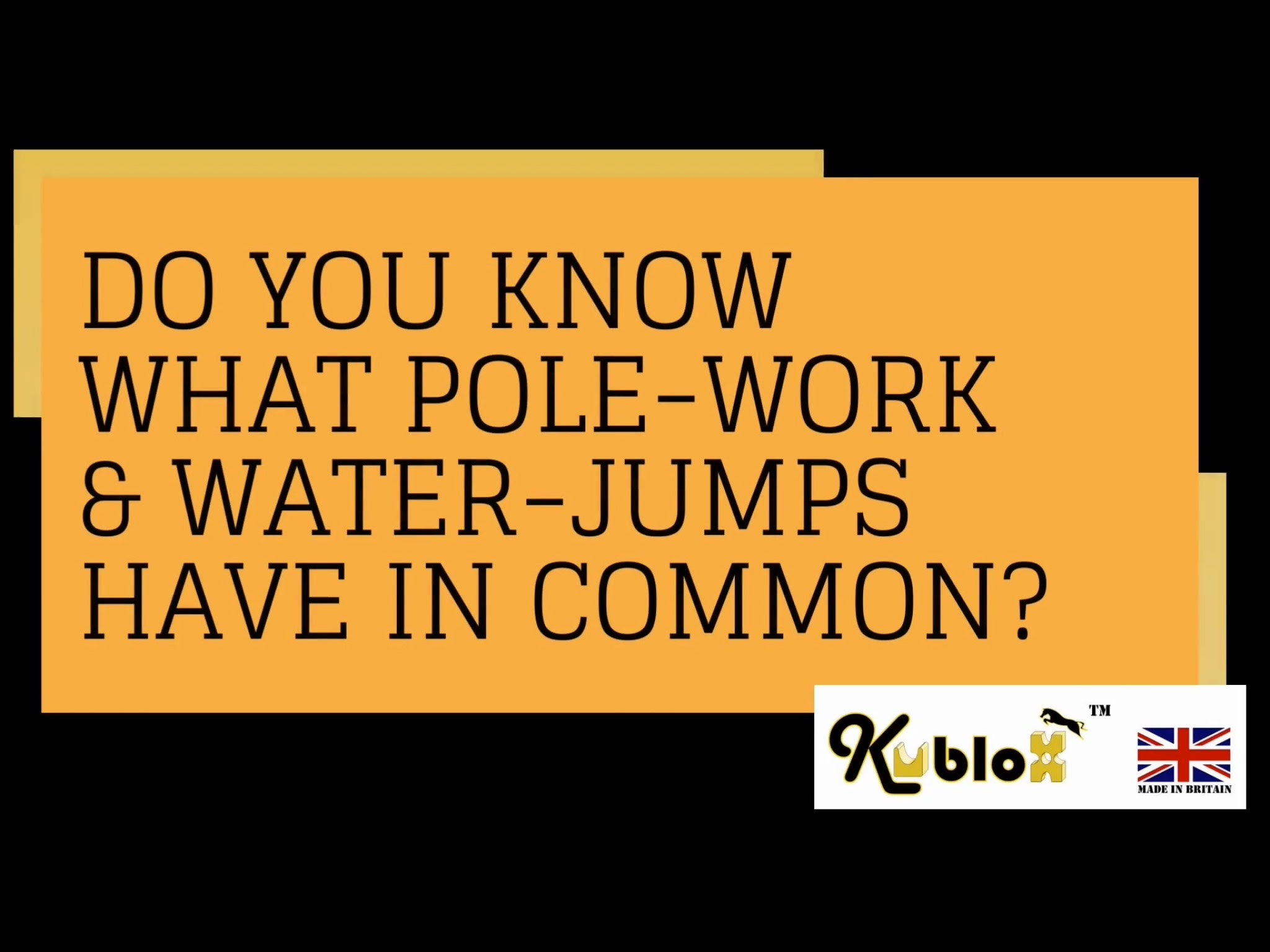 What do Water Jumps & Pole-Work have in Common?