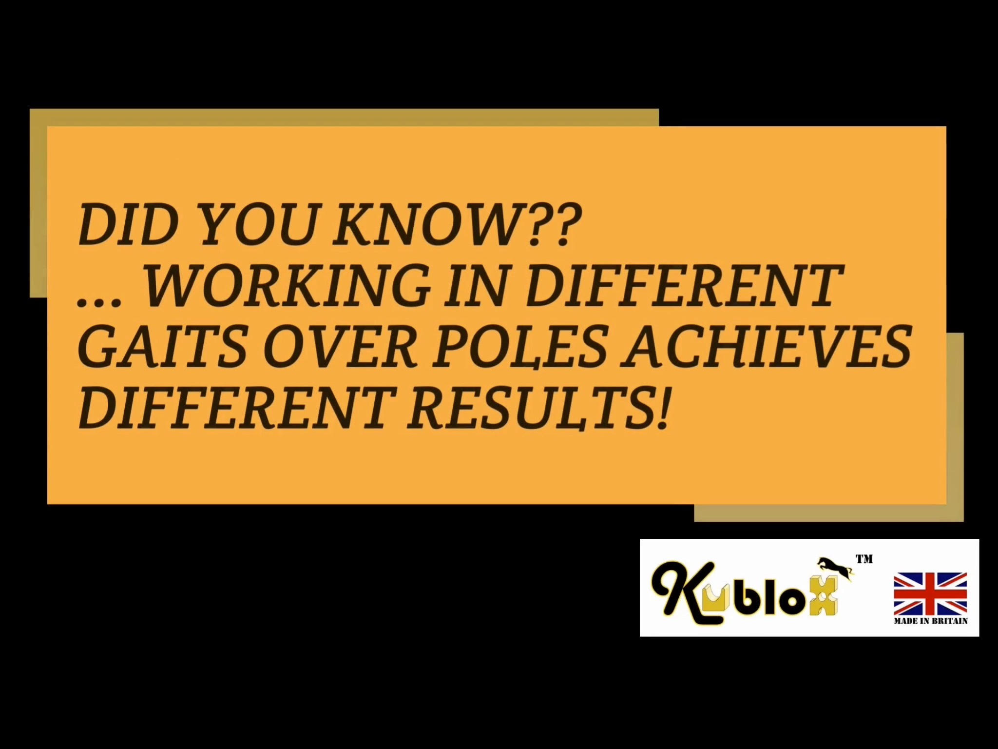 What do different gaits over poles achieve?
